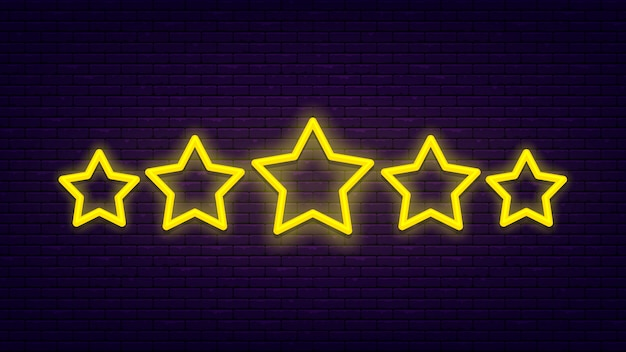 Five stars. light, bright neon banner at brick wall. excellent quality rating.