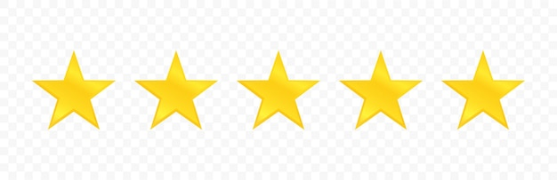 Five stars quality icon isolated on transparent background. stars rating review.