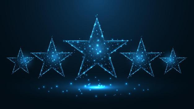 5つ星はライン接続を評価します。低ポリワイヤーフレームデザイン。抽象的な幾何学的な背景。ベクトルイラスト。