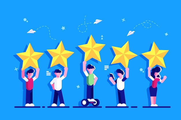 Five stars rating flat style vector concept. people are holding stars over the heads. feedback consumer or customer review evaluation, satisfaction level and critic. rating. feedback for web page.