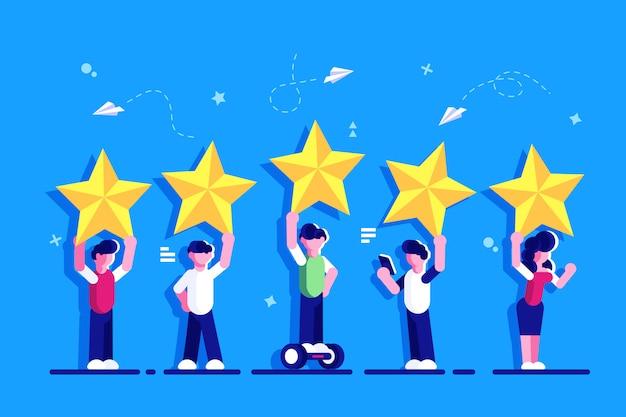 5 개의 별 등급 평면 스타일 벡터 개념입니다. 사람들은 머리 위로 별을 들고 있습니다. 피드백 소비자 또는 고객 검토 평가, 만족도 및 비평가. 평가. 웹 페이지에 대한 의견.