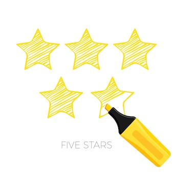 Five stars rating poster sketch style. ranking of best items golden star from clients and customers. positive feedback, service award