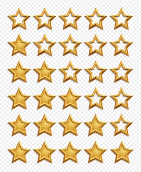 Five stars rating system. gold stars rating vector isolated on transparent background