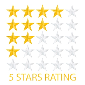 Five stars rating on white background