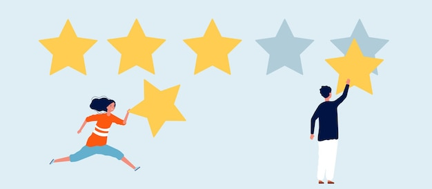 별 5 개 등급. 스타, 리뷰와 여자 남자. 마케팅 및 소셜 미디어 커뮤니케이션 그림.