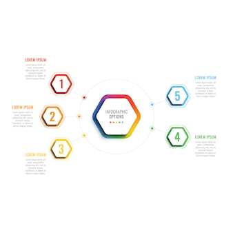 Five steps 3d infographic template with hexagonal elements.