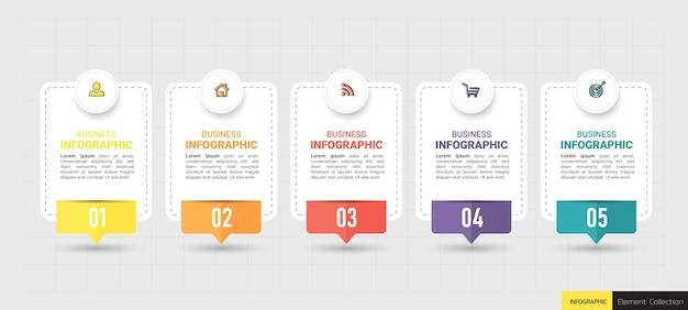 5つのステップのビジネスインフォグラフィック