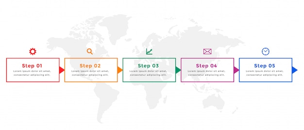 Five steps business timeline infographic template design