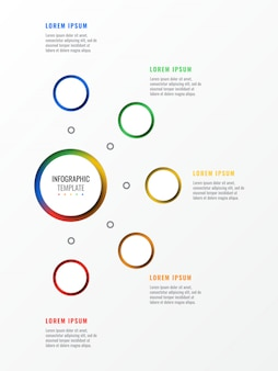 Five steps design layout infographic template with round 3d realistic elements.