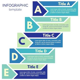 5つのステップのインフォグラフィックデザイン要素。ステップバイステップのインフォグラフィックデザインテンプレート。ベクトルイラスト