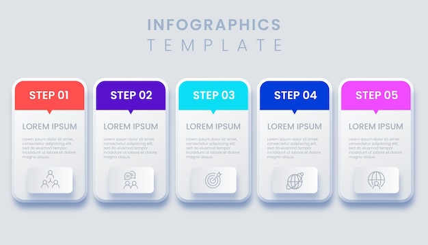 Five steps modern business infographic template illustration