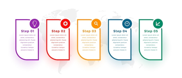 Five steps modern infographic template design