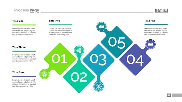 プレゼンテーション用の5つのステップのプロセスチャートテンプレート。