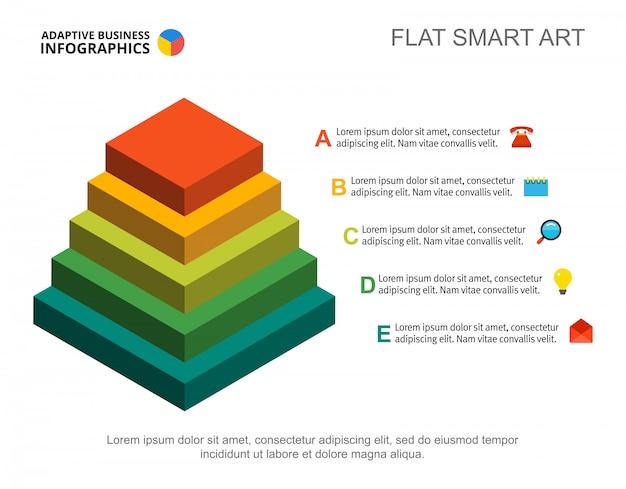 Modello di grafico di processo piramidale di cinque passi per la presentazione. dati aziendali