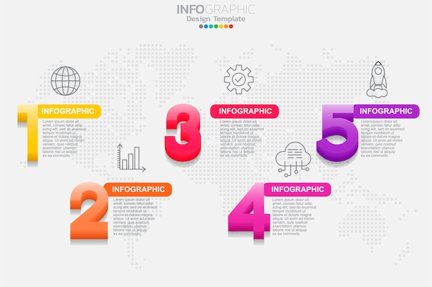 Five steps timeline infographic design vector