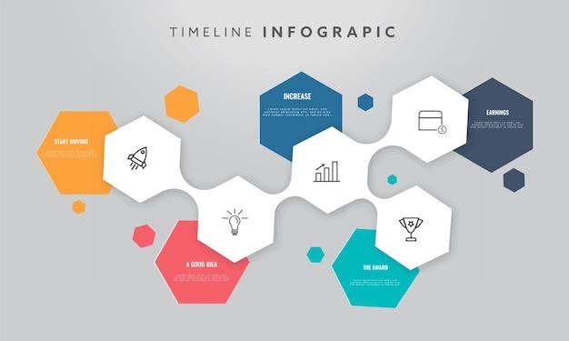 5つのステップのタイムラインインフォグラフィックテンプレートデザイン