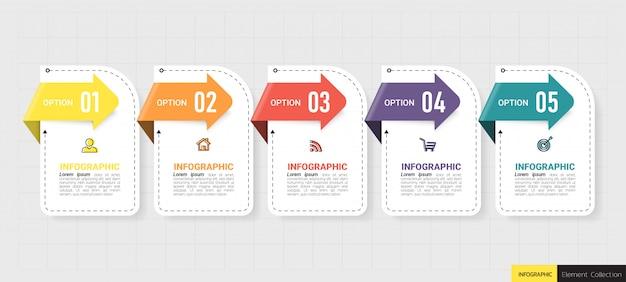 Five steps timeline infographics design