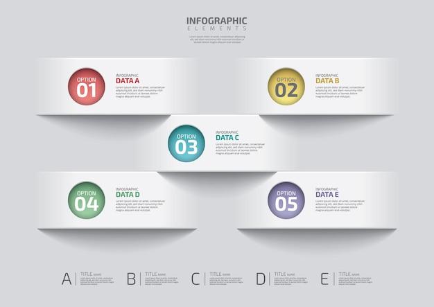 Five steps workflow process chart template business data visualization