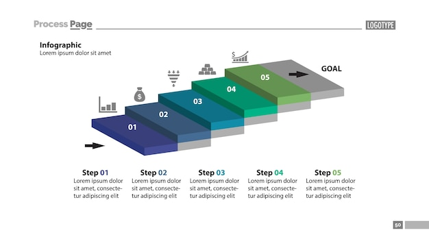 5つのステップのワークフロースライドテンプレート