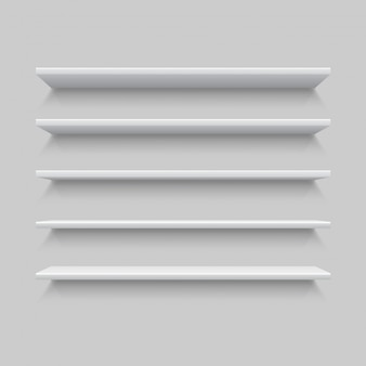 Five white realistic shelves. mock up or template of empty shelf on grey wall.