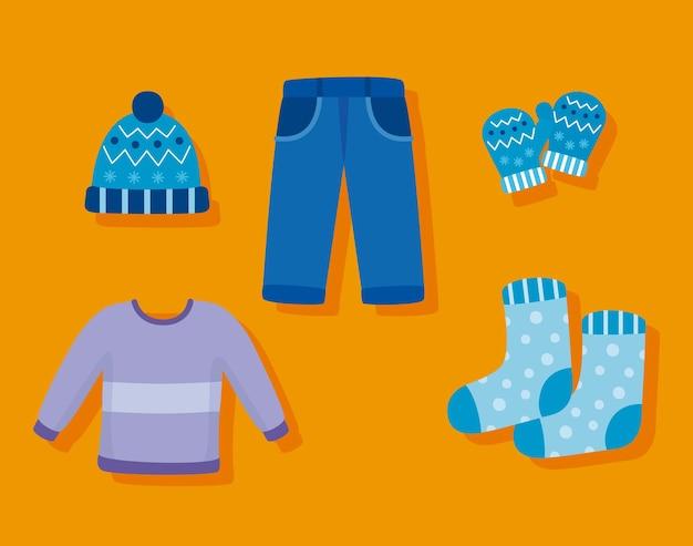 Пять зимних сезонов набор иконок