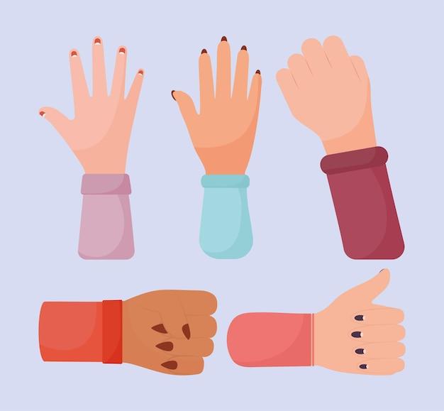 5人の女性の手