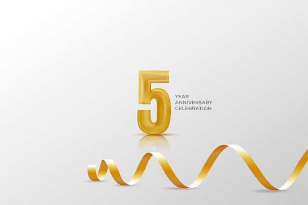 Шаблон празднования пятилетнего юбилея с золотым номером
