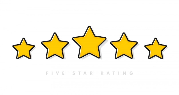 Five yellow rating star vector illustration in white