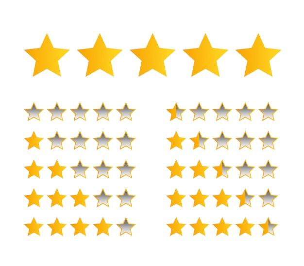 Пять желтых звездочек для оценки товара или отзыва покупателей