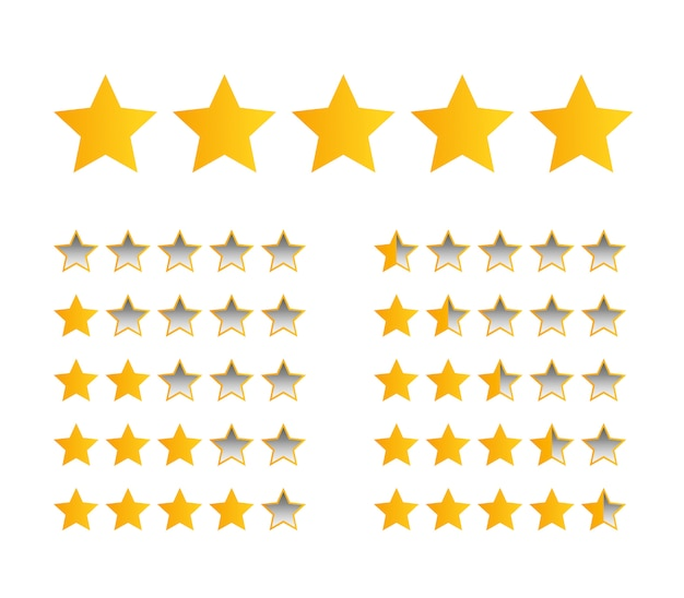 Five yellow stars for product rating or customer review