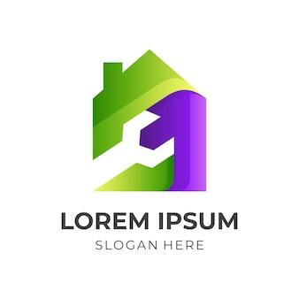 家のロゴ、家とレンチ、緑と紫の 3 d 色の組み合わせのロゴを修正 Premiumベクター