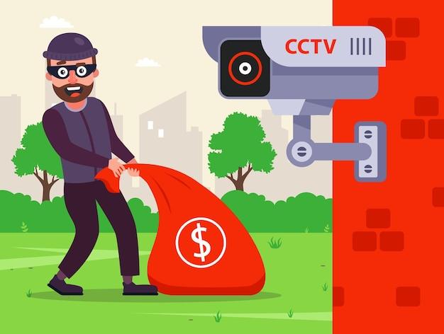 隠しカメラで犯罪を修正します。お金の袋を持つ男性強盗。フラットなキャラクターのイラスト。
