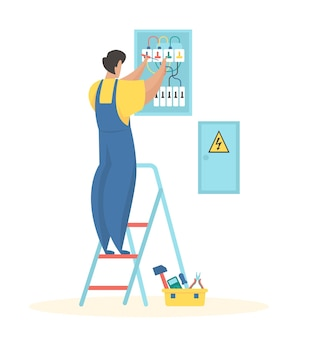 Fixing electrical wiring electrician in uniform adjusts wires electric meter