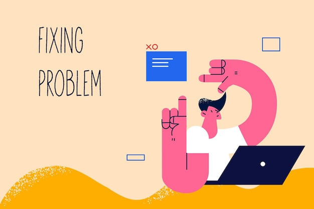 Fixing problem in business concept