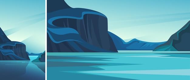 푸른 물과 피요르드. 수직 및 수평 방향의 자연 경관 세트.