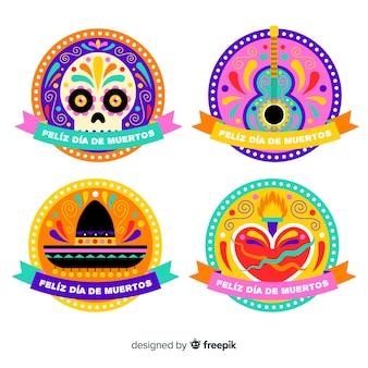 Flad design día de muertos badge collection