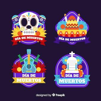 Коллекция значков flad design día de muertos