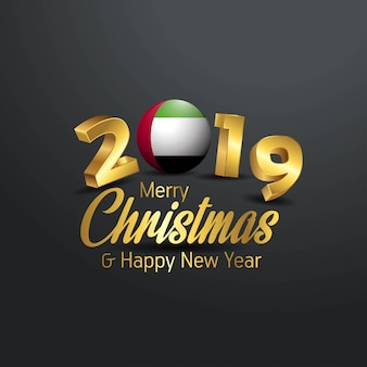 アラブ首長国連邦flag 2019 merry christmas typography