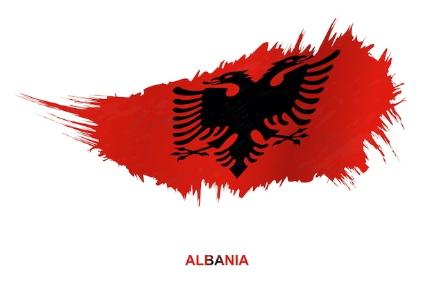 Flag of albania in grunge style with waving effect, vector grunge brush stroke flag.
