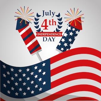 旗とロケットの花火アメリカの独立記念日