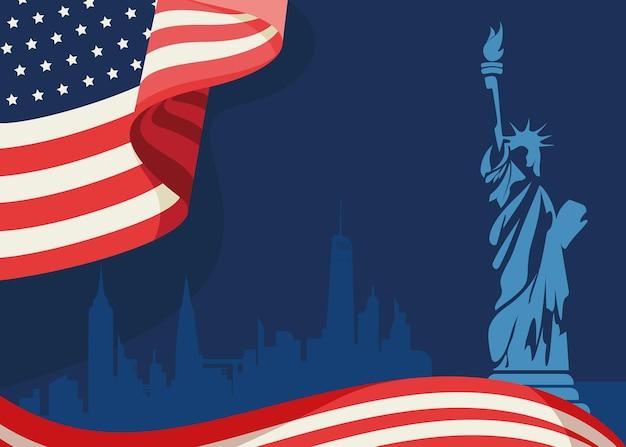 깃발과 자유의 여신상. 미국의 개념입니다.