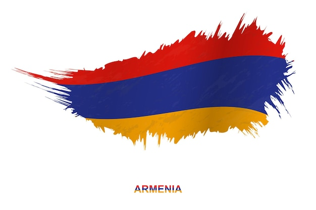 Flag of armenia in grunge style with waving effect, vector grunge brush stroke flag.