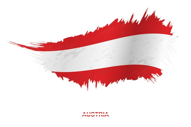 Flag of austria in grunge style with waving effect, vector grunge brush stroke flag.