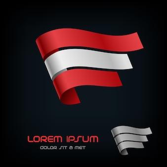 Flag of austria, ribbon logo.