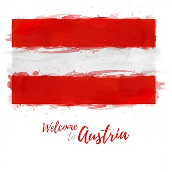 Flag of austria with the decoration of the national color. style watercolor drawing.
