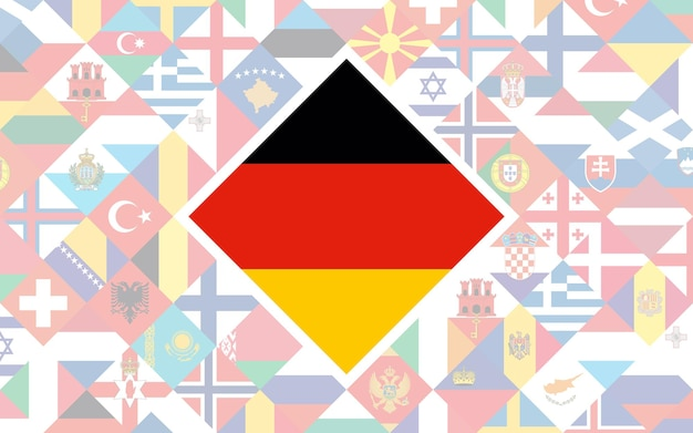 축구 대회를 위한 중앙에 독일의 큰 깃발이 있는 유럽 국가의 깃발 배경.