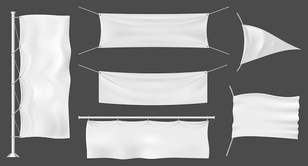 깃발 배너 또는 야외 패브릭 광고판, 빈 흰색 광고 모형 템플릿, 야외 극 표지판 세트. 상업 프로모션 디스플레이