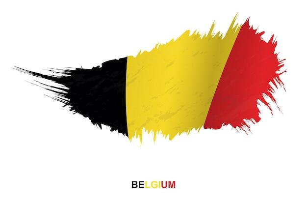 Flag of belgium in grunge style with waving effect, vector grunge brush stroke flag.