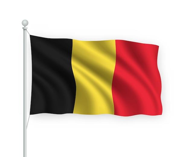 Флаг бельгии на флагштоке изолированный на белом