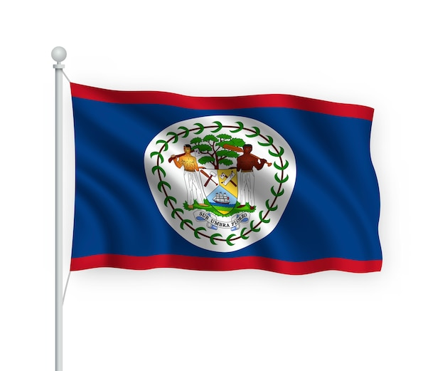 Flag belize on flagpole isolated on white